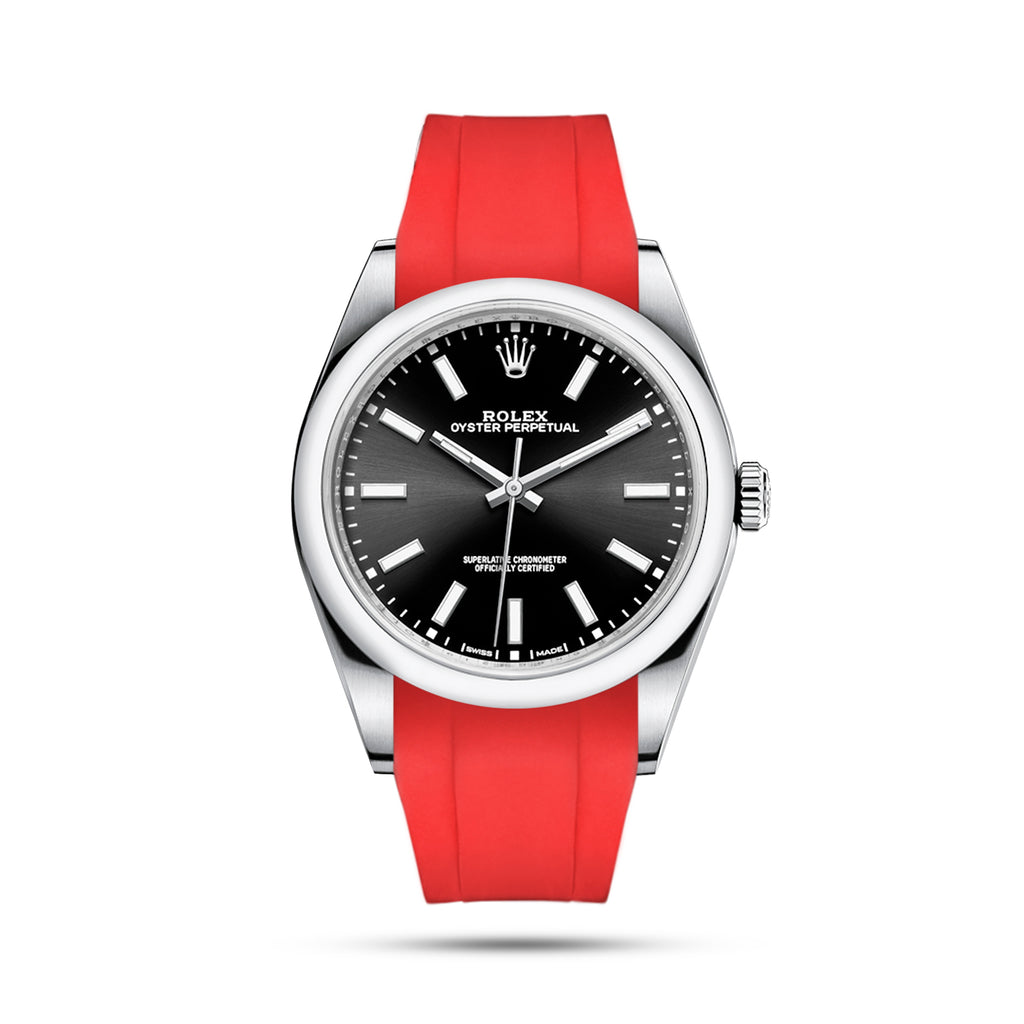 Integrated Rubber Strap For Oyster Perpetual 39mm - Red