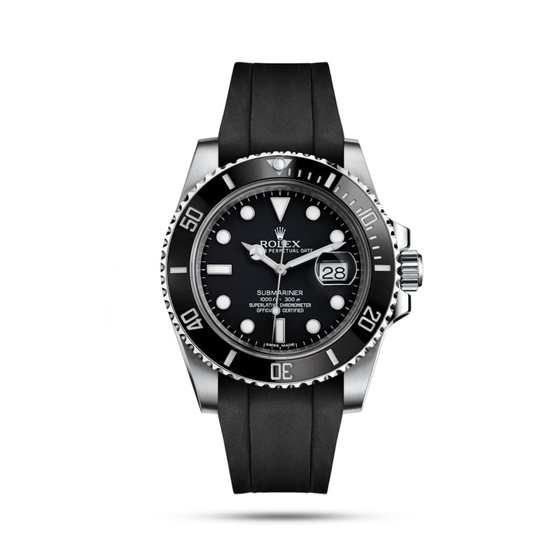 Integrated Rubber Strap For Submariner - Black