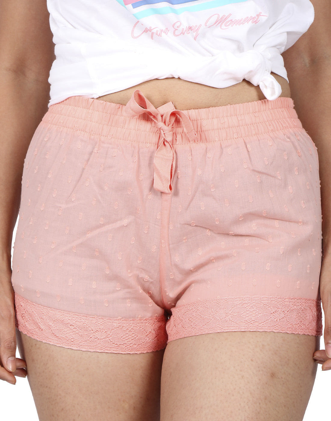 Peach Dotted Shorts