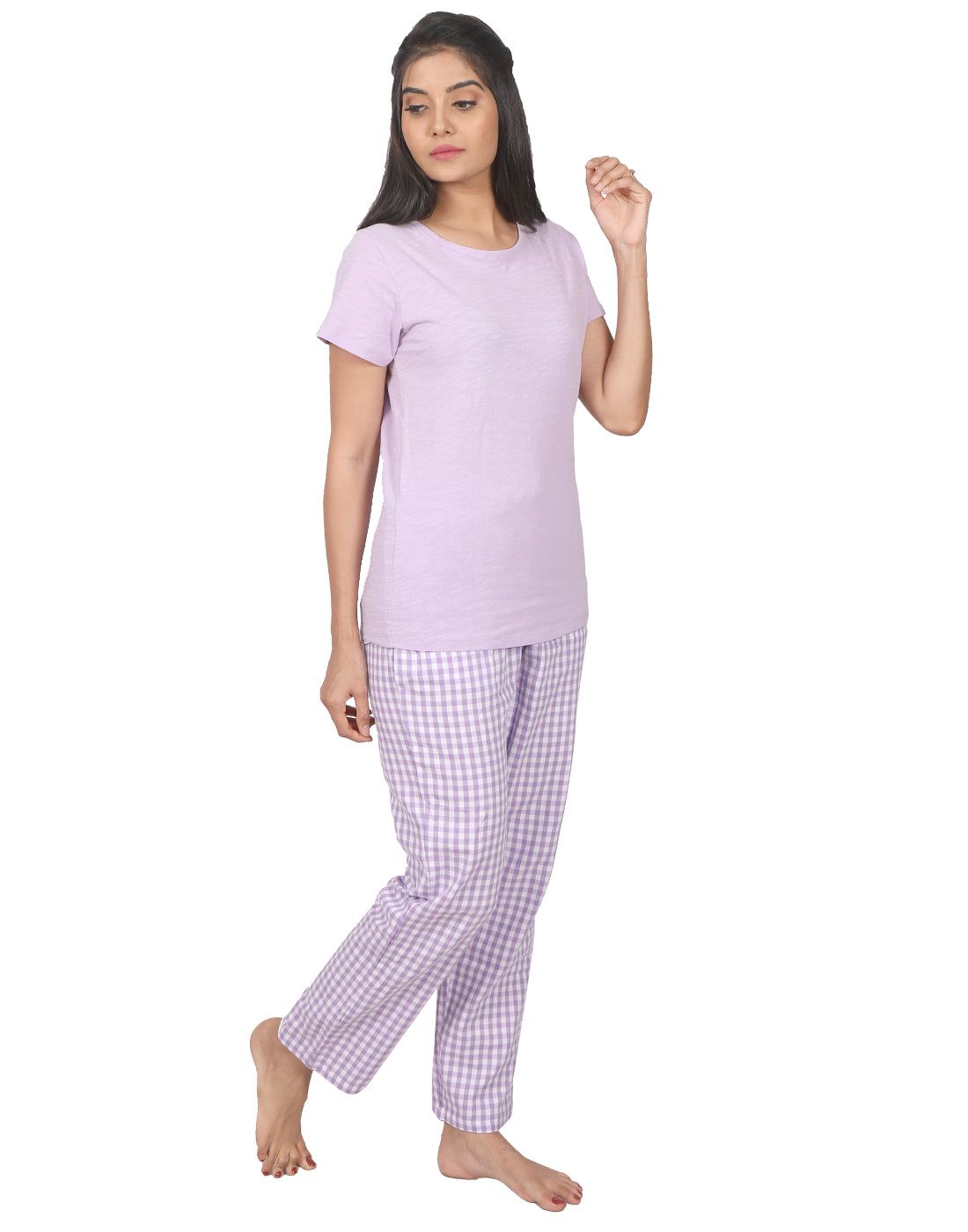 Lavender Gingham Checked PJ