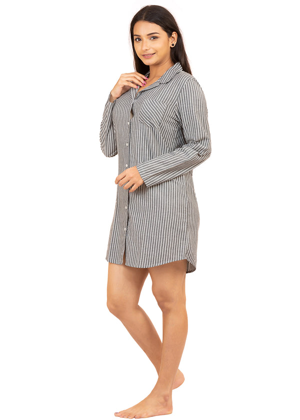 GREY STRIPED NIGHTSHIRT