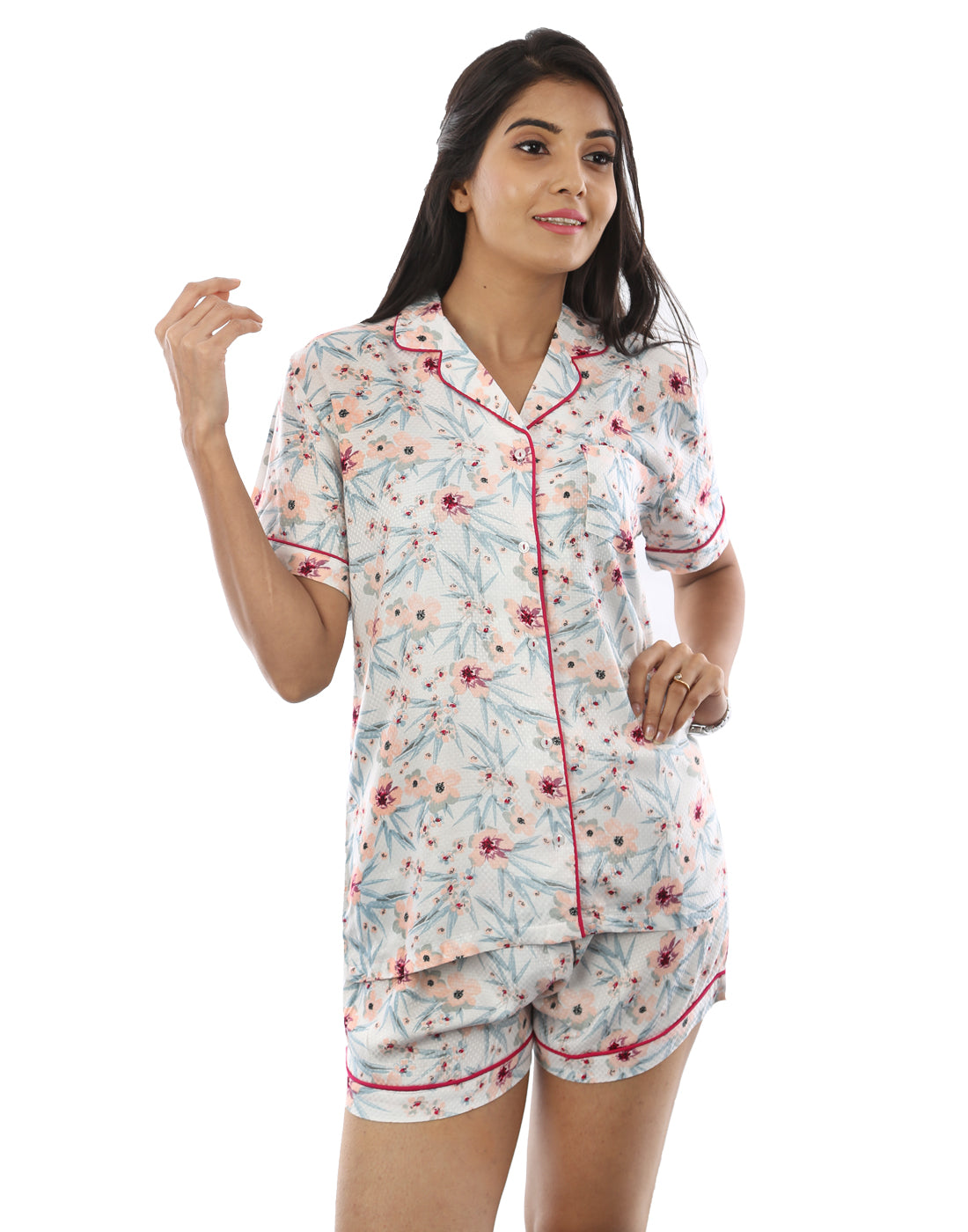 Winter Peachy Floral Shorty Pj set