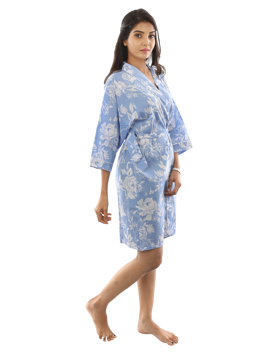 Sky Blue Floral Robe