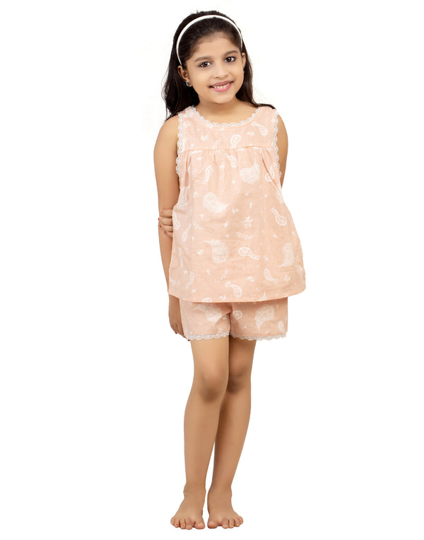 Peach Paisley Kids Cami Set