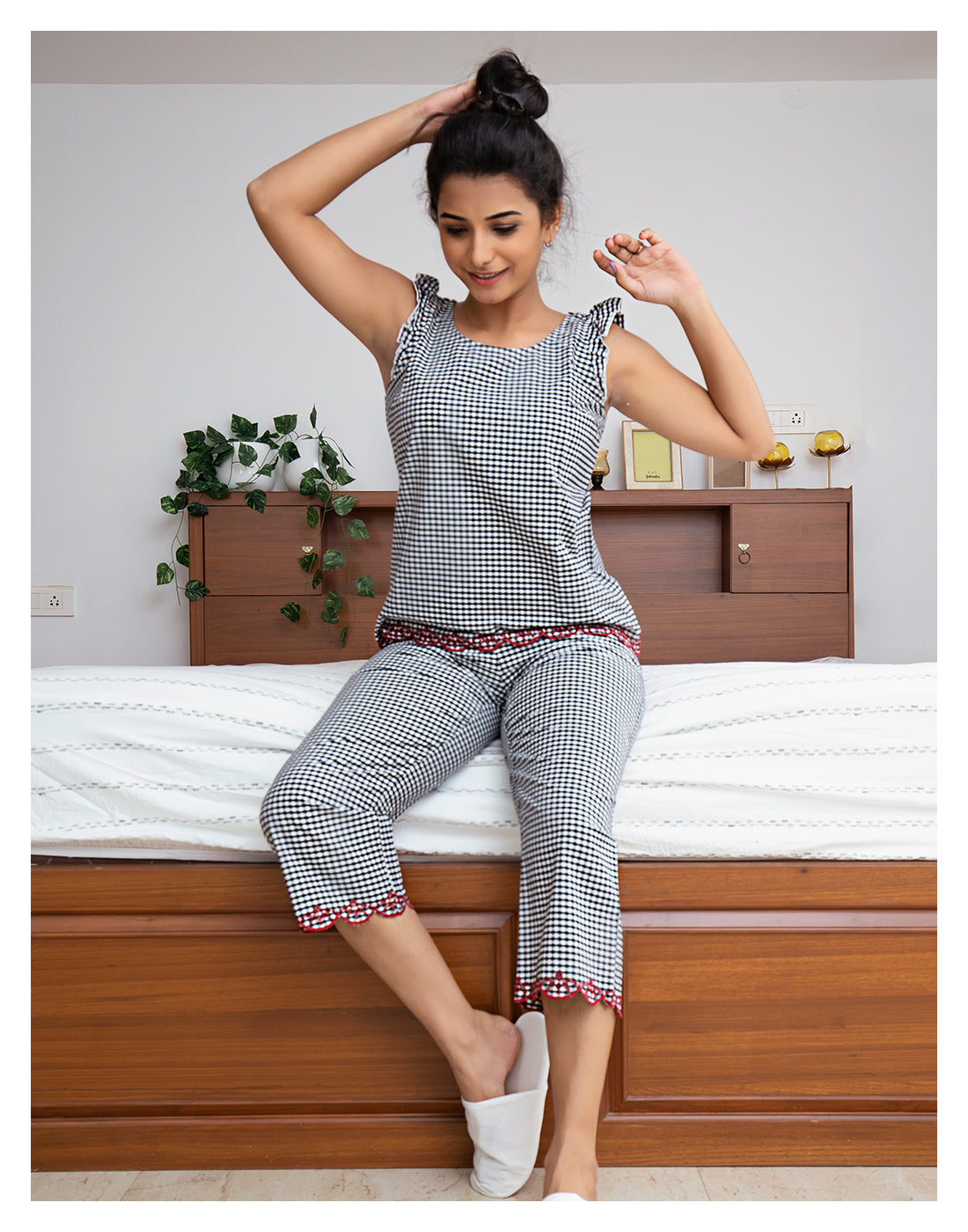 Black and White Gingham Checked PJ