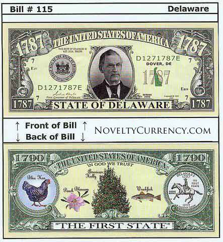 Delaware - The First State - Commemorative Novelty Currency Bill