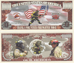 Volunteer Firefighters Novelty Currency Bill