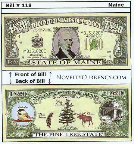 Maine - The Pine Tree State - Commemorative Novelty Bill