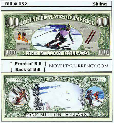 Skiing Novelty Currency Bill