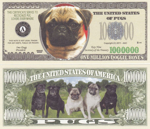 Pug Dog Novelty Currency Bill