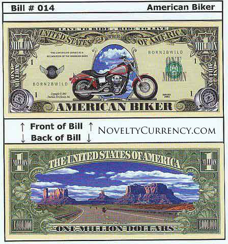 American Biker Novelty Currency Bill