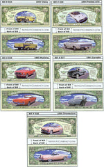 Classic Cars Complete Set (5 Different Bills Per Set)