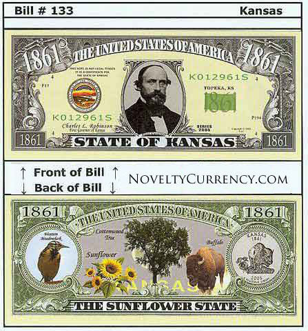 Kansas - The Sunflower State - Commemorative Novelty Bill