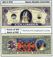 Shuttle Columbia Novelty Currency Bill