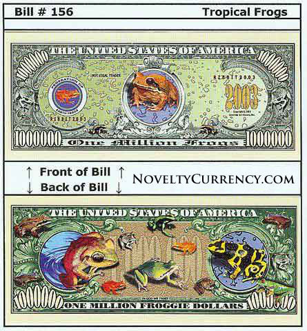 Tropical Frogs Novelty Currency Bill
