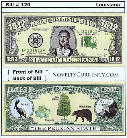 Louisiana - The Pelican State - Commemorative Novelty Bill
