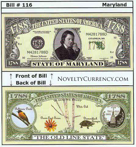Maryland - The Ocean State - Commemorative Novelty Bill