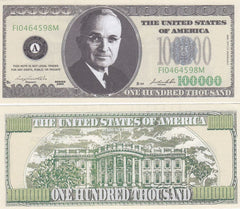 $100,000 Novelty Currency Bill