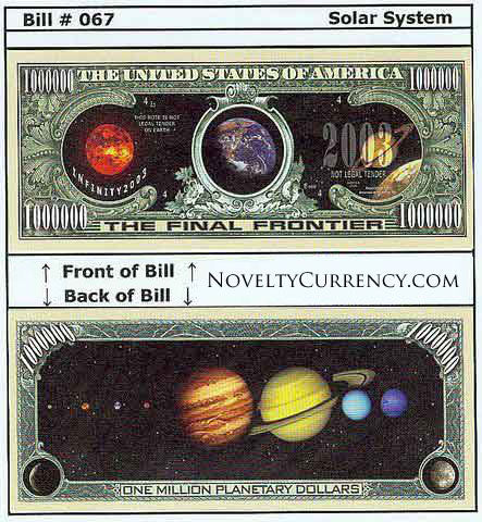 Solar System Novelty Currency Bill