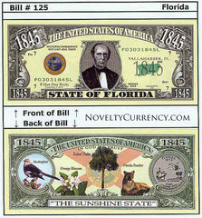 Florida - The Sunshine State - Commemorative Novelty Bill
