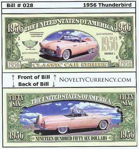 1956 Ford Thunderbird Classic Car Novelty Currency