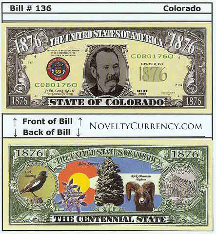 Colorado - The Centennial State - Commemorative Novelty Bill