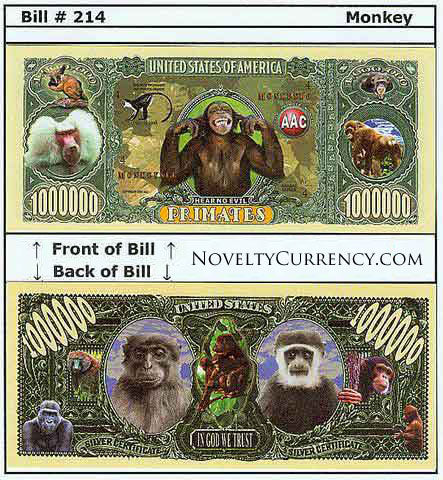 Monkey Primates Novelty Currency Bill
