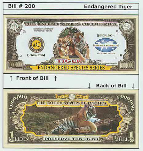 Tiger Endangered Speices Series Novelty Currency Bill