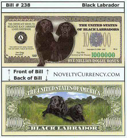 Black Labrador Novelty Currency Bill
