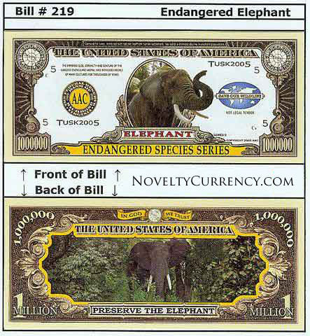 Elephant Endangered Species Novelty Currency Bill