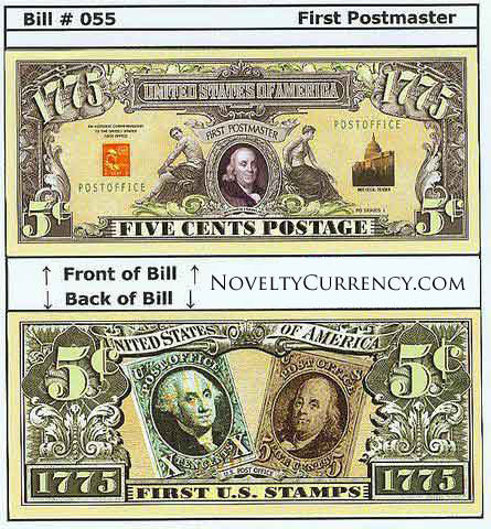 First Postmaster (Ben Franklin) Novelty Currency Bill