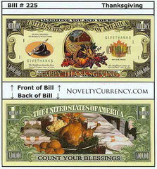 Happy Thanksgiving Novelty Currency Bill