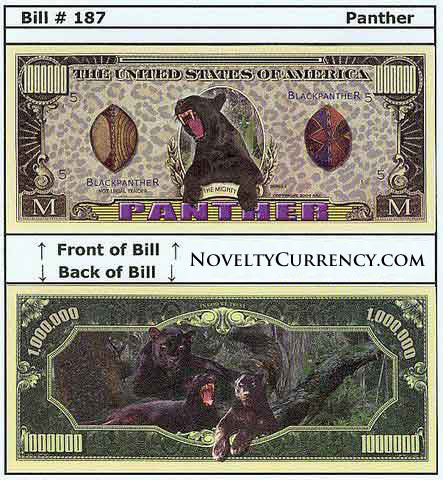 Panther Novelty Currency Bill
