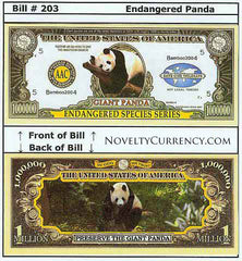 Giant Panda Endangered Species Novelty Currency Bill