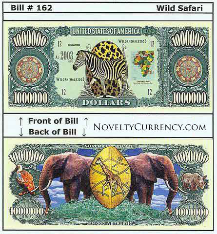 Wild Safari Novelty Currency Bill