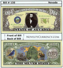 Nevada - The Silver State - Commemorative Novelty Currency Bill