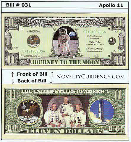 Apollo 11 Novelty Currency Bill