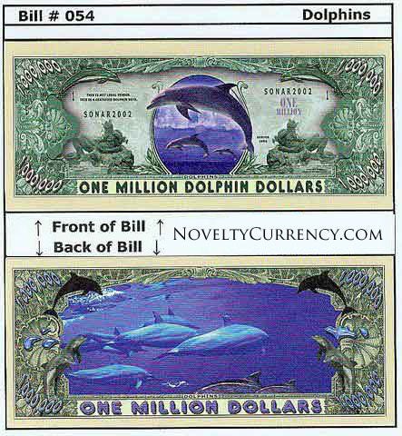 Dolphins Novelty Currency Bill