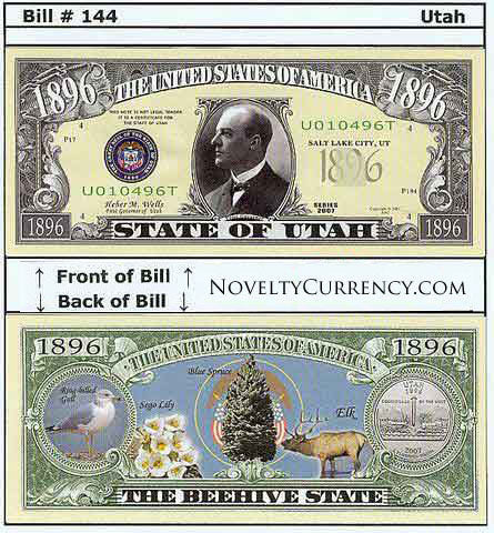 Utah - The Beehive State - Commemorative Novelty Currency Bill