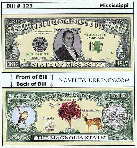 Mississippi - The Magnolia State - Commemorative Novelty Bill