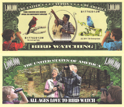 Bird Watching Novelty Currency Bill