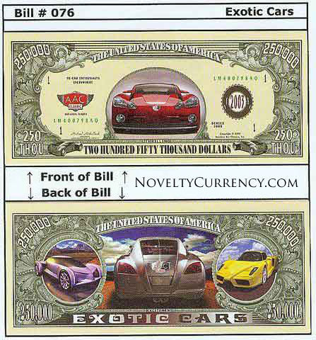 Exotic Cars Novelty Currency Bill