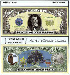 Nebraska - The Cornhusker State - Commemorative Novelty Bill