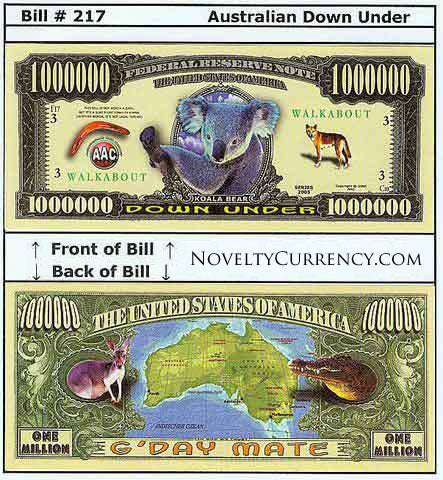 Australian Down Under Novelty Currency Bill