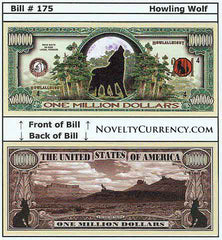 Howling Wolf Novelty Currency Bill