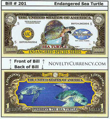 Sea Turtle Endangered Novelty Currency Bill