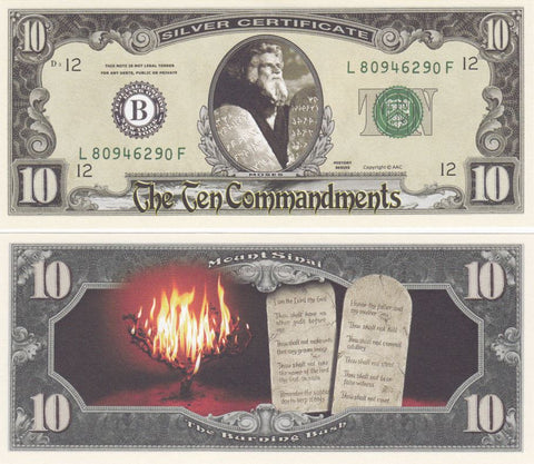 Moses 10 Commandments Novelty Currency Bill