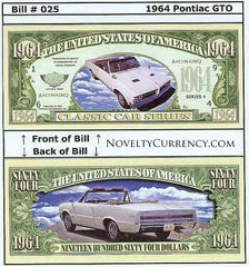 1964 Pontiac GTO Classic Car Novelty Currency Bill