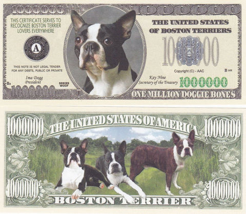 Boston Terrier Dog Novelty Currency Bill