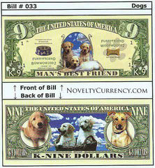 Image of Man's Best Friend (K-9 Dollars) Novelty Currency Bill